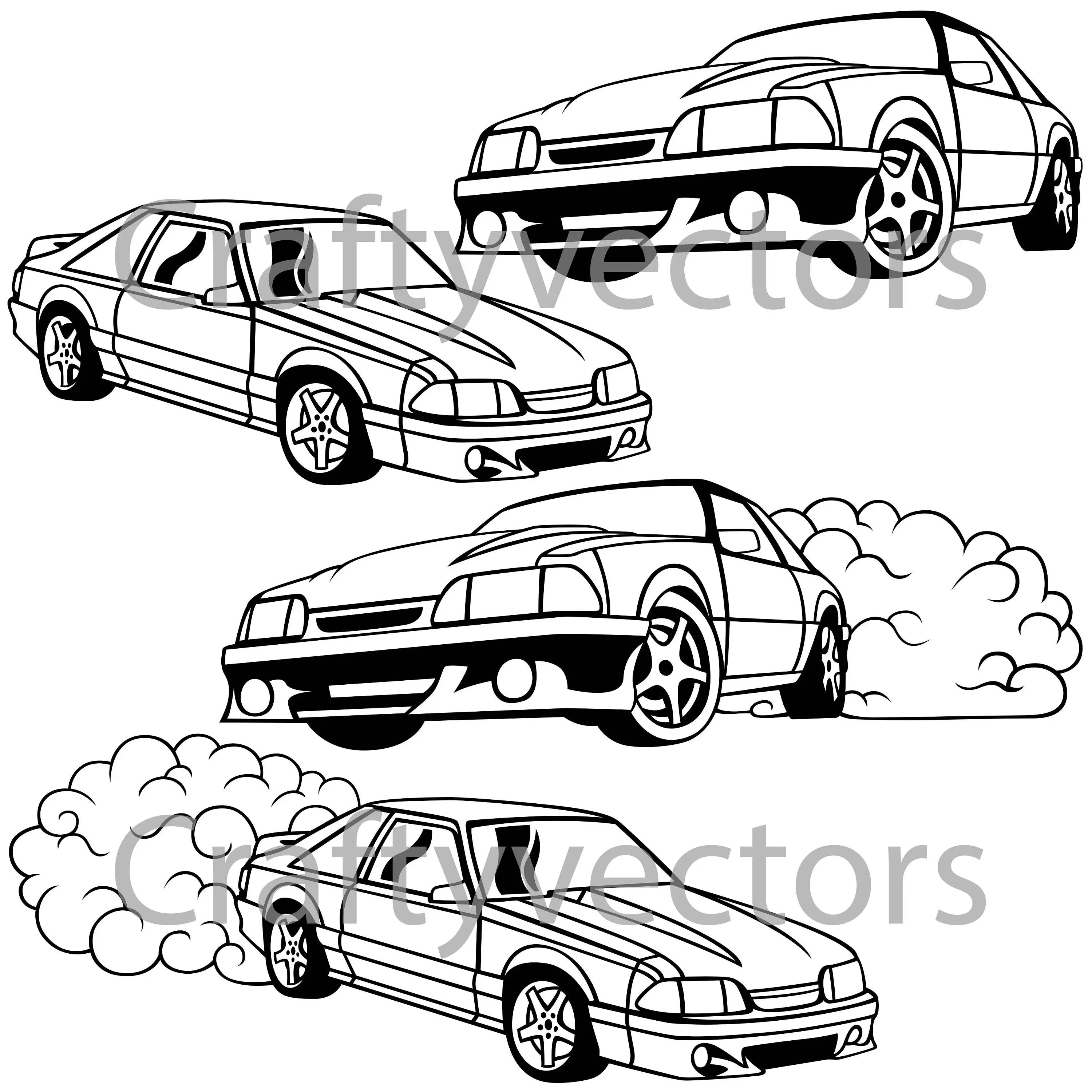 Ford Mustang Fox Body vector SVG cut file