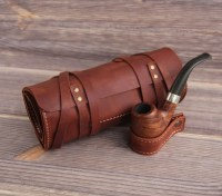 Genuine Leather Pipe & Tobacco Pouch Case Holder. Pipe Roll.