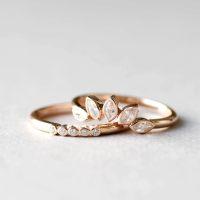 Set of Two 14K Rose Gold Rings Ring Wrap Ring Guard Rose