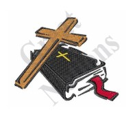 Small Bible And Cross Machine Embroidery Design