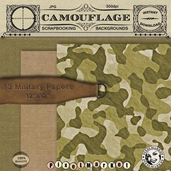 Digital Camo Paper Realistic Military Fabric Texture
