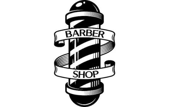 barber logo 6 pole salon haircut