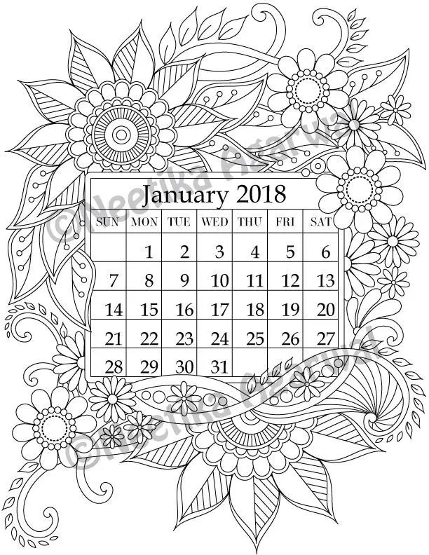 January 2018 Coloring Page Calender Planner Doodle