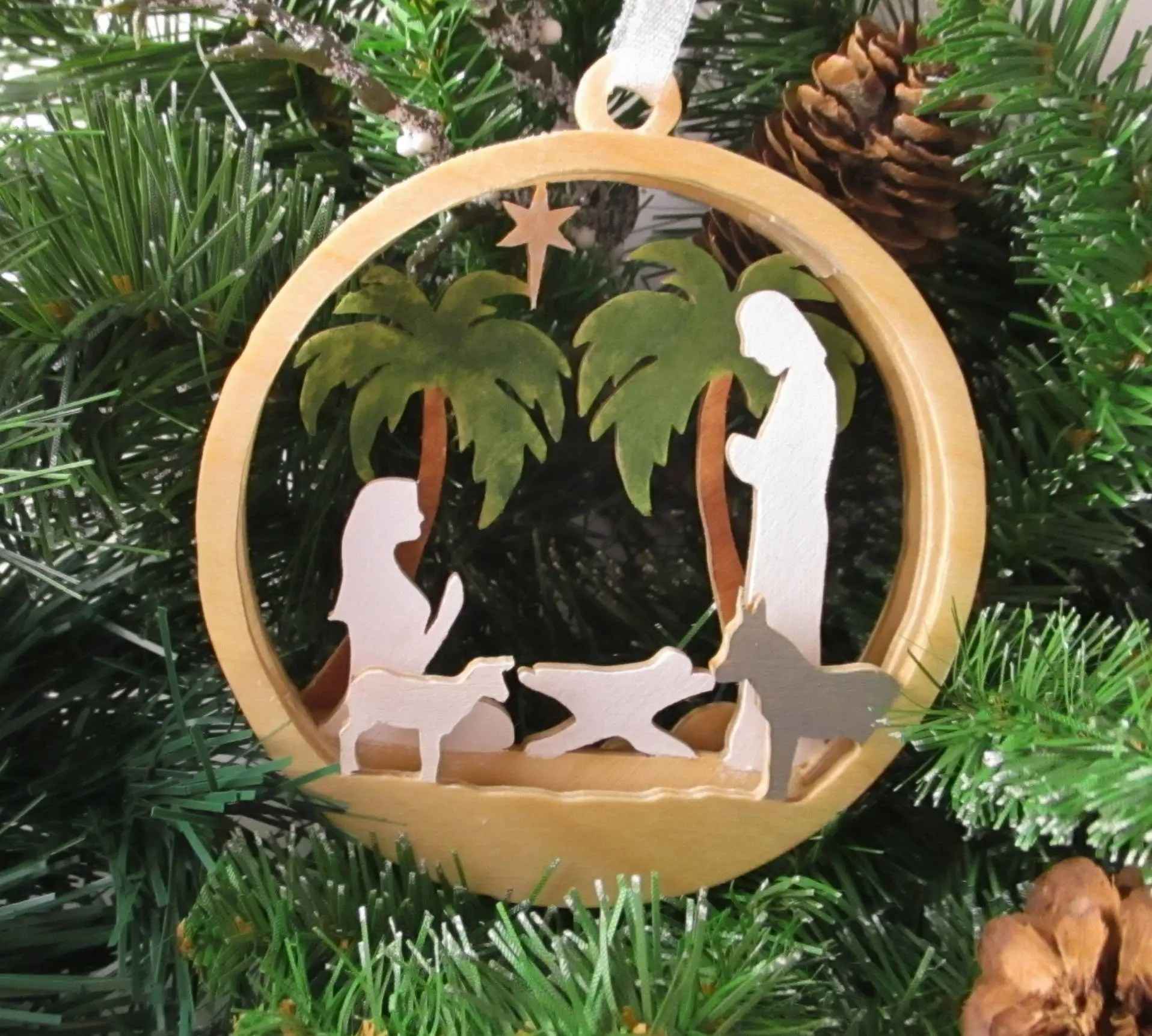 Layered Wood Nativity Ornament