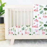 Tropical Floral Flamingo Crib Bedding Pink Flamingo Baby