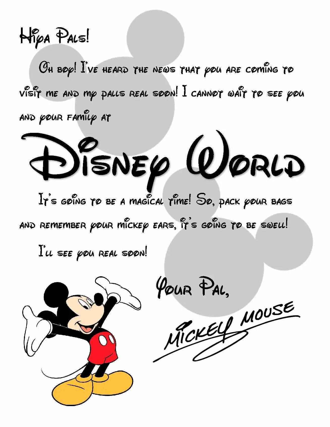 Custom Disney World Letter from Mickey Invitation to Disney