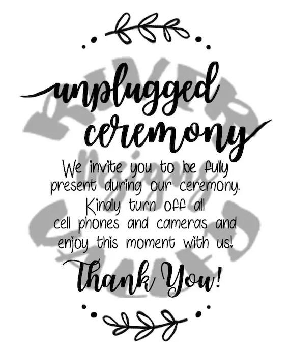 unplugged ceremony sign wedding sign vinyl design pdf