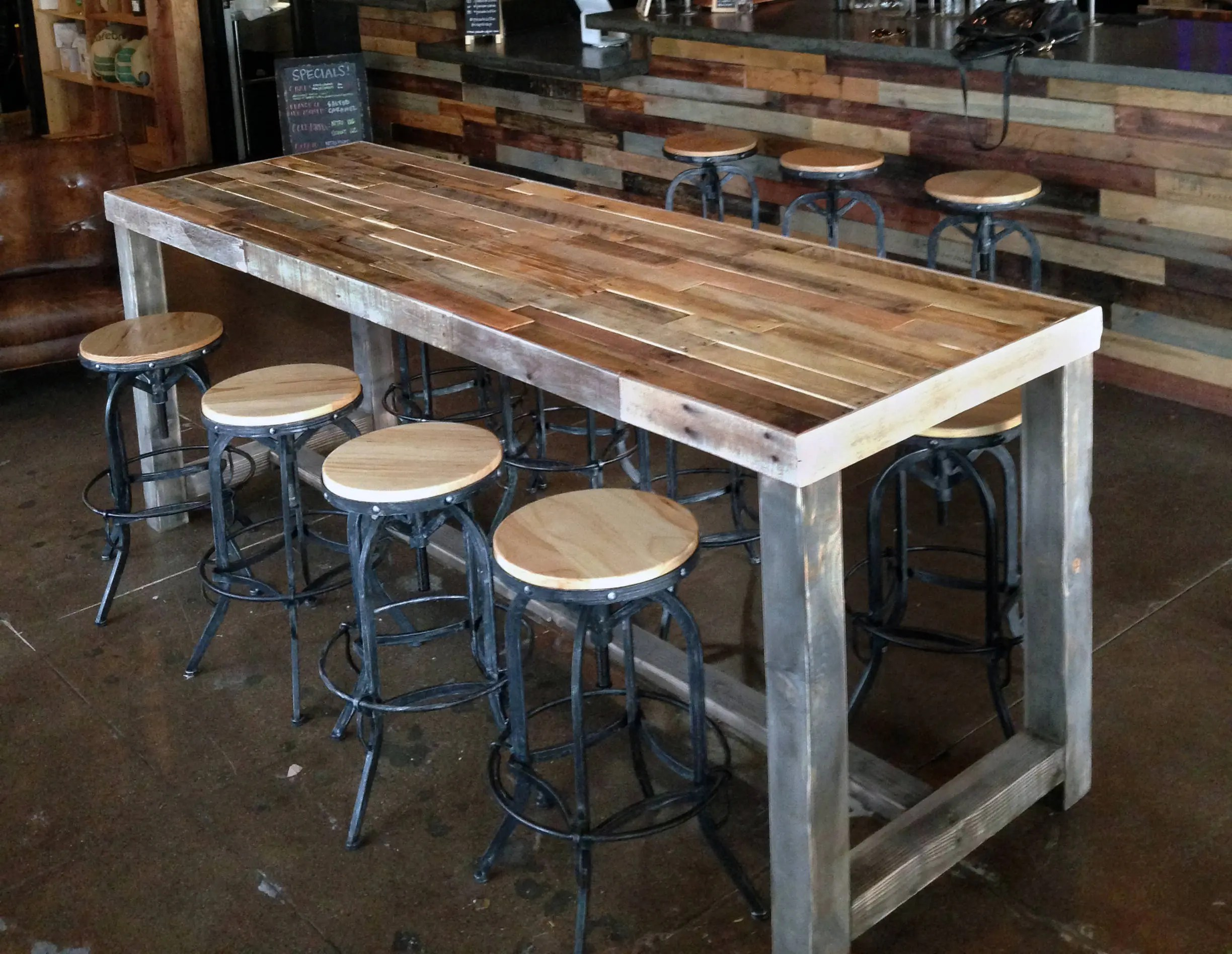 used table and chairs for restaurant use cast iron patio reclaimed wood bar counter community rustic custom