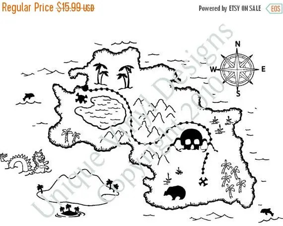 ON SALE Pirate Treasure Map...vinyl letttering