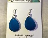 Dark Blue Earrings, Wedge...