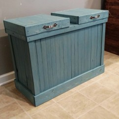 30 Gallon Kitchen Trash Can Espresso Table Rustic Blue Double Wood And Recycling Bin