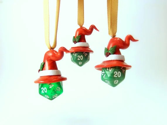 D20 Christmas / Holiday Dice Ornament w/ Wizard Hat