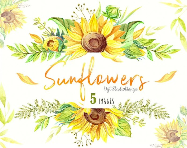 watercolor sunflowers wreath frame