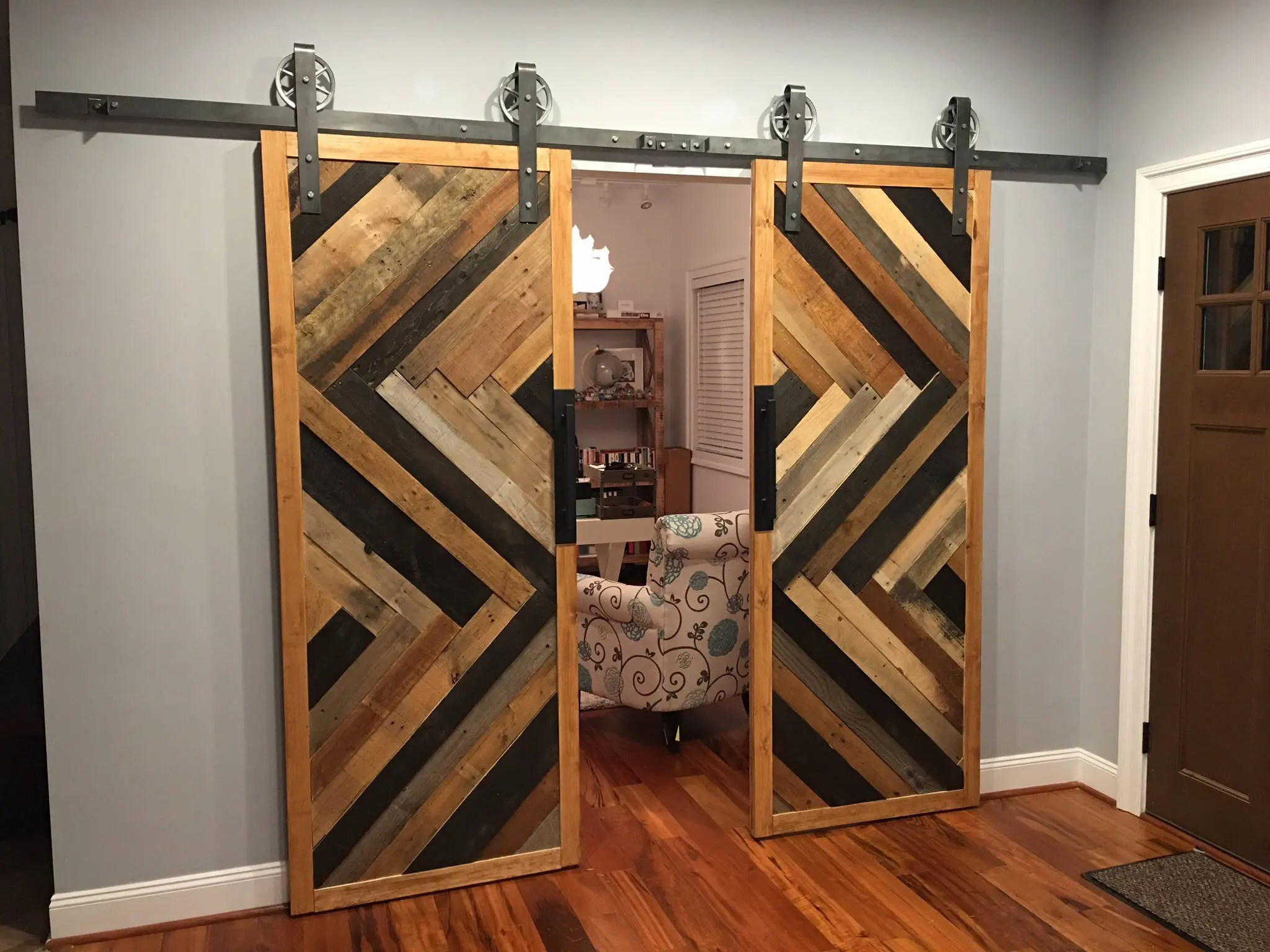 Custom Sliding Barn Door Reclaimed Herringbone Pattern
