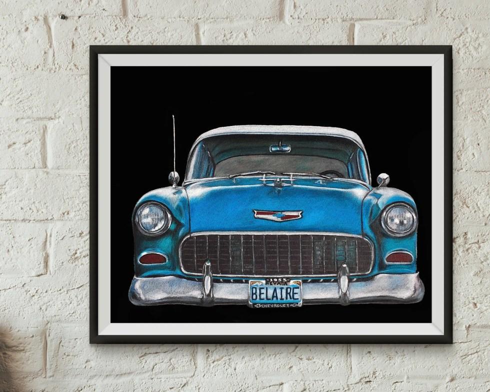 Chevy Car. Original Print...