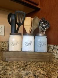 Mason jar utensil holder Kitchen Utensil jar soap dispenser