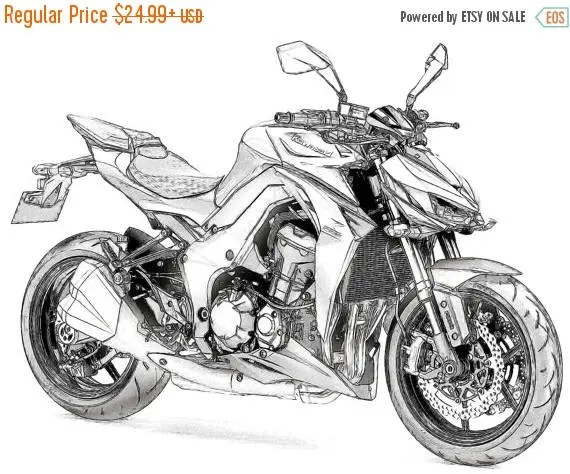 40% OFF Sale Kawasaki Z1000 Drawing T shirt I can draw Your