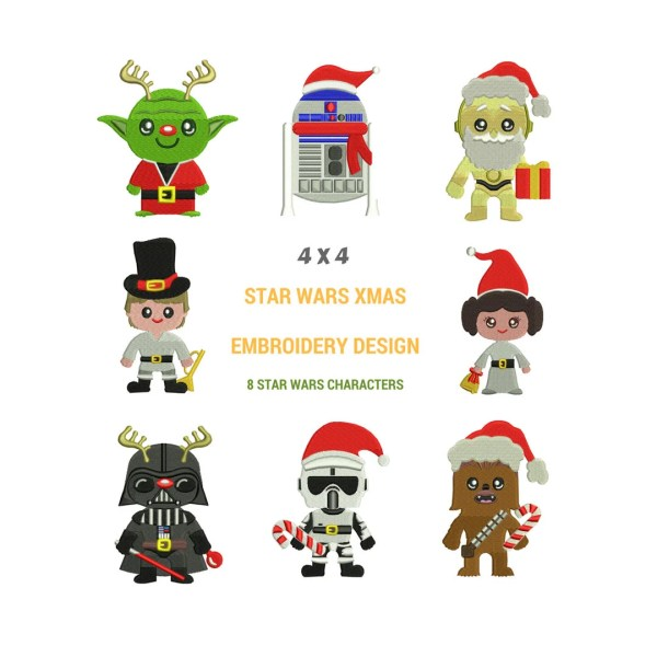 Star Wars Christmas Embroidery Design Machine