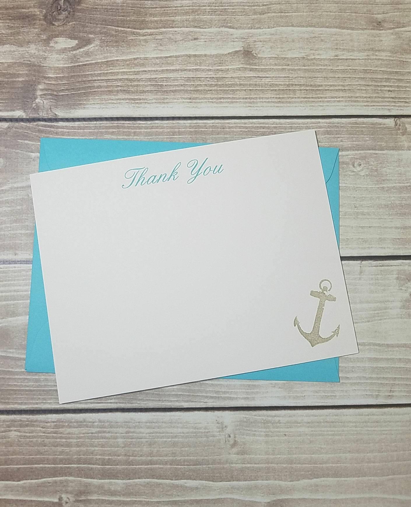Wedding Thank You Stationery, Beach Stationery, Beach Thank You Note,  Anchor Thank You