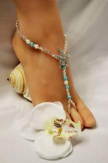 Pearl Crystal Barefoot Sandals Turquoise Foot Jewelry Beach