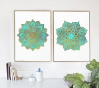 Set Of 2 Wall Art Prints, Mandala Art Print, Golden ...