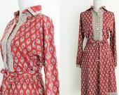 80s Wool Midi Red Dress -...