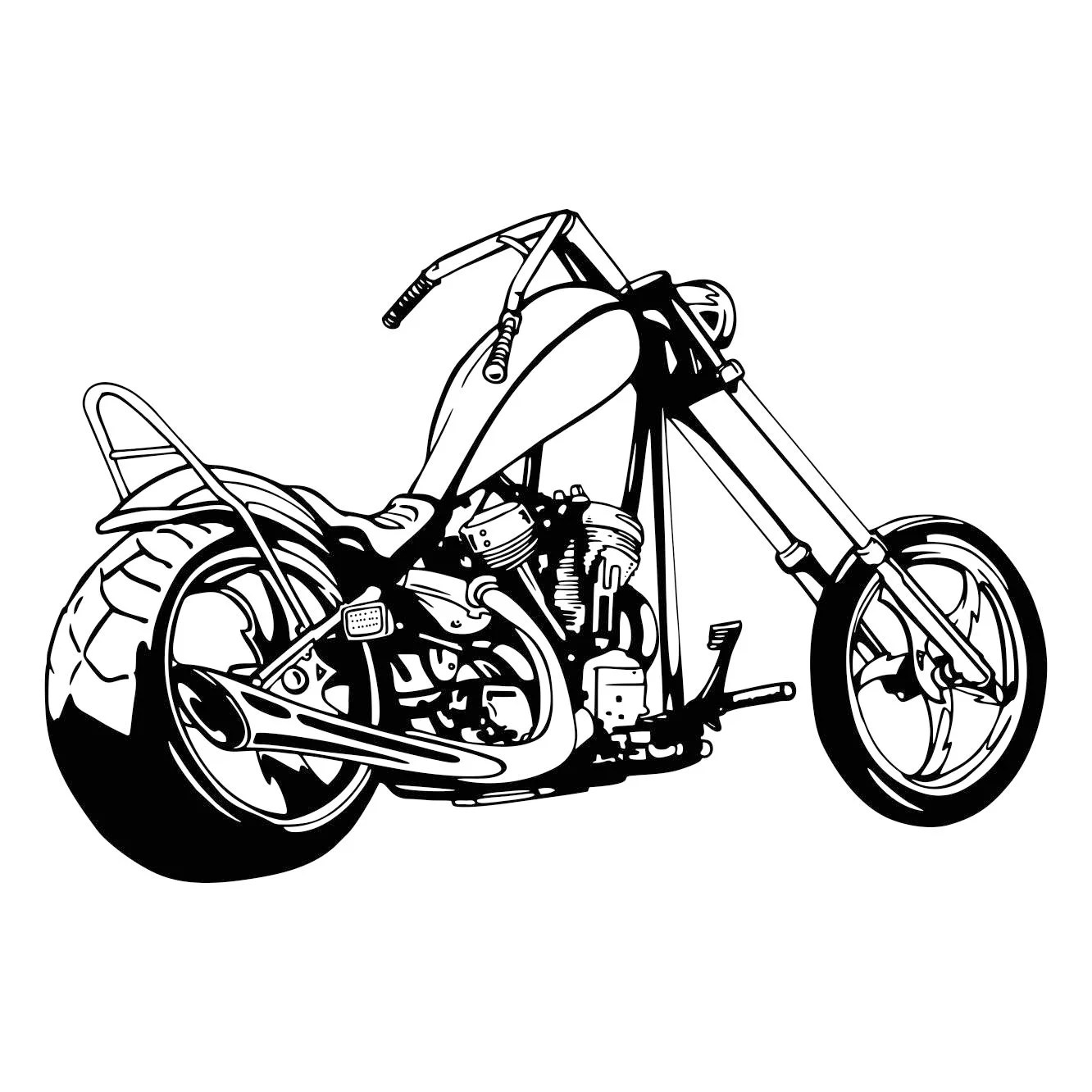 Chopper Motorcycle 2 Graphics SVG Dxf EPS Png Cdr Ai Pdf