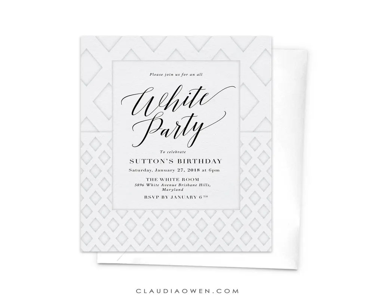 Printable Black and White Affair Party Invitation Design 4x6