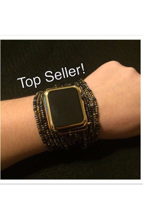 Beaded Apple Watch Band 38mm 42mm Womens Bracelet IWatch Brown