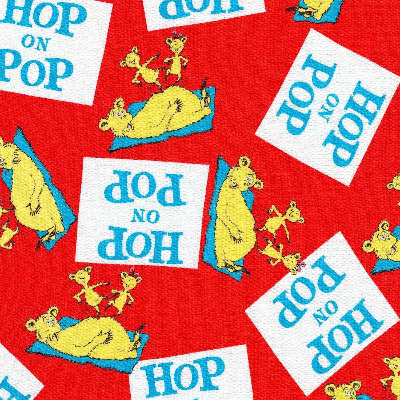 Dr Seuss Hop On Pop Red Fabric From Robert Kaufman Quilting