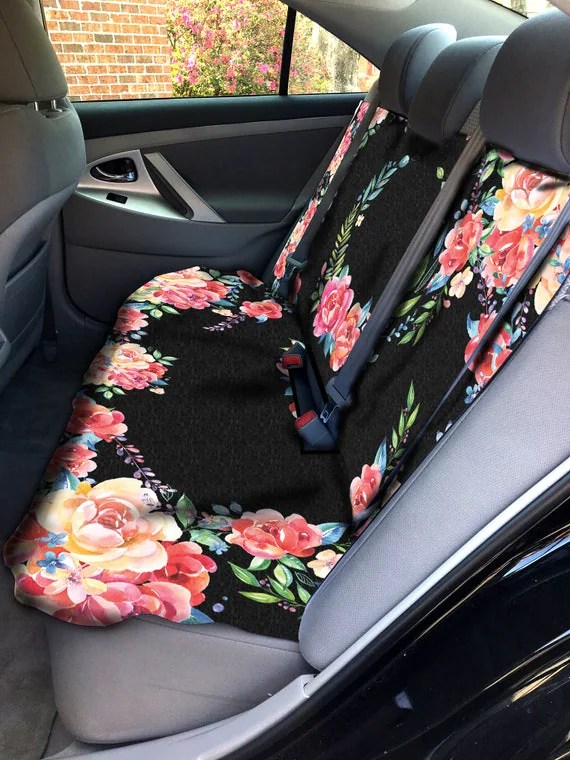 Classy Black Floral Car Seat Cover Back Seat Car Cover Back