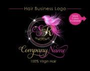 hair extensions logo circular diamond