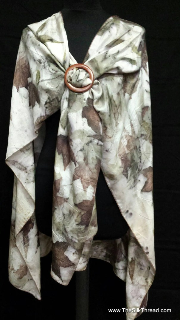All Natural Silk Shawl, Eco-printed Organic Leaf Designs, Handcrafted by artist, Silky Comfort, Fits All Sizes, Cape, Wrap, FREE Ship USA