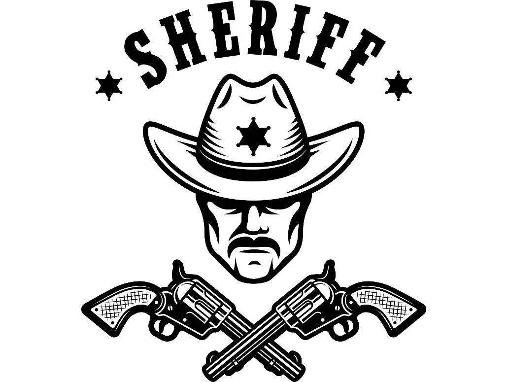 Cowboy Logo 16 Sheriff Gun Scarf Badge Revolver Western Hat