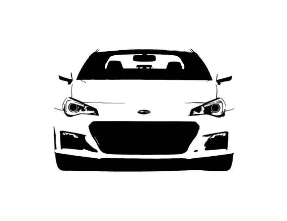 Subaru BRZ front view line drawing vector vectorized print