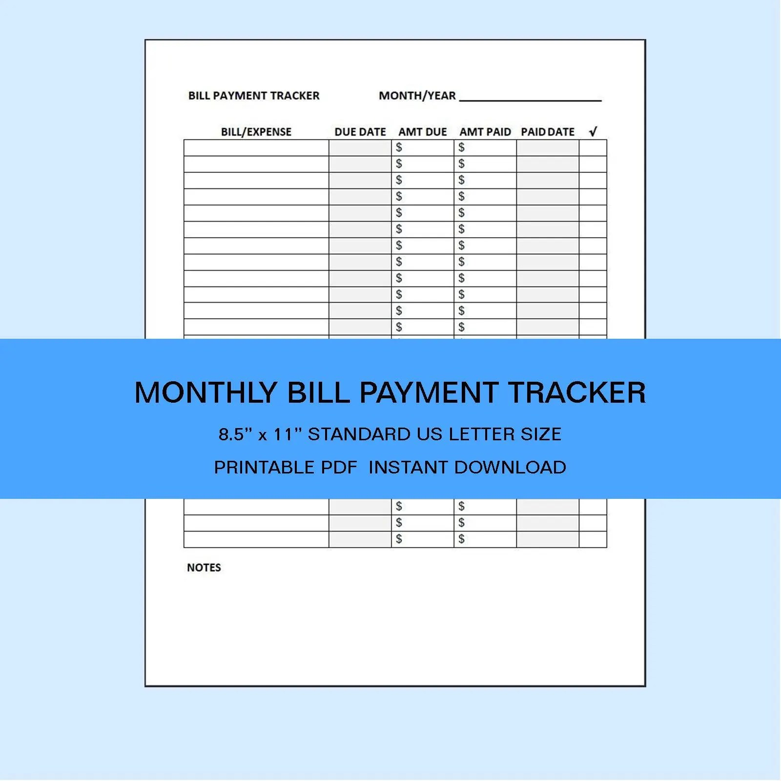 Bill Payment Tracker Printable Monthly Payment Log Bill