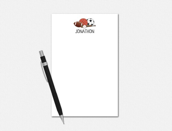 Personalized Sports Notepad - Sports Notepad - Personalized Notepad - Stationery for Men - Notepads for Boys - Custom Sports Balls Notepad