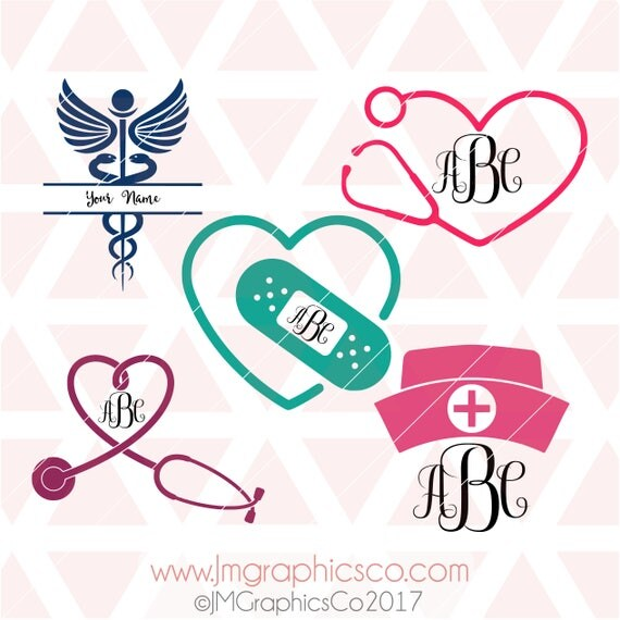 Download Nurse monogram svg eps dxf png cricut cameo scan N cut