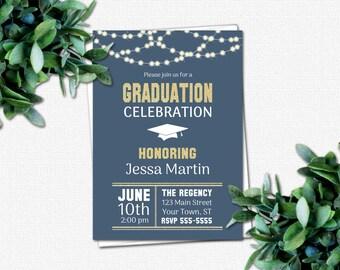 DIY Graduation Invitation - PRINTABLE Invitations - High School or College Graduation Party Invitations | School Colors | Rustic Lights