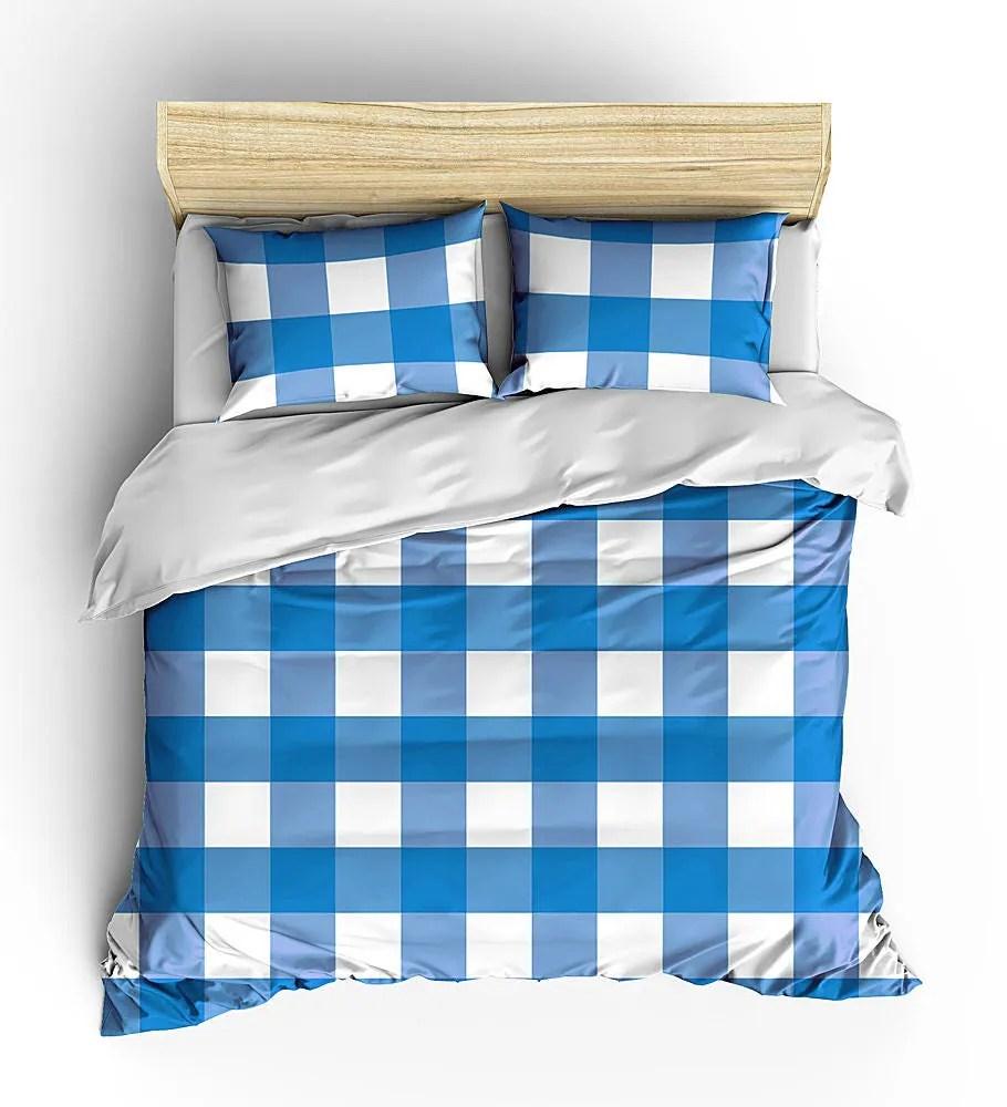Men S Bedding Set Masculine Bed Cover Plaid Duvet Grad