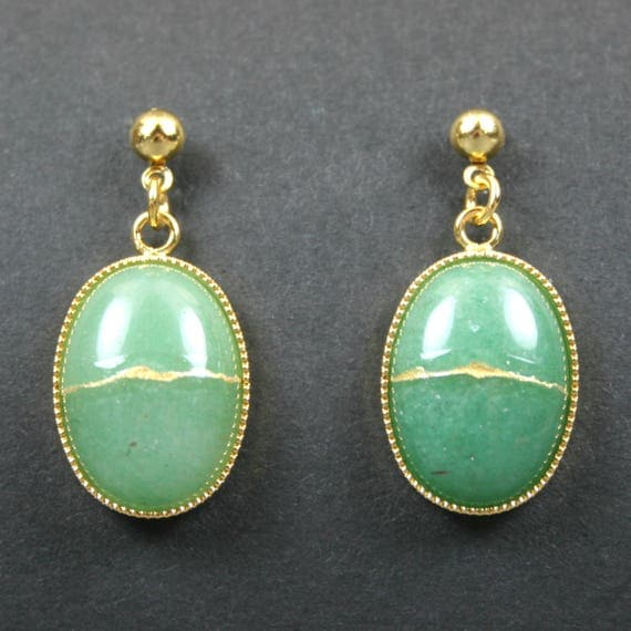 Kintsugi (kintsukuroi) green aventurine stone earrings with gold repair in gold plated settings hanging from gold ball posts - OOAK