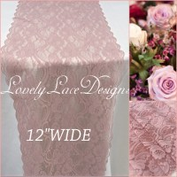 20ft/Dusty Rose Lace Table Runner/12wide/Lace Overlay ...