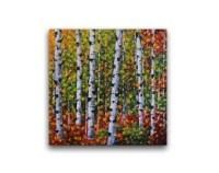 Birch tree painting Canvas art print set Large wall art