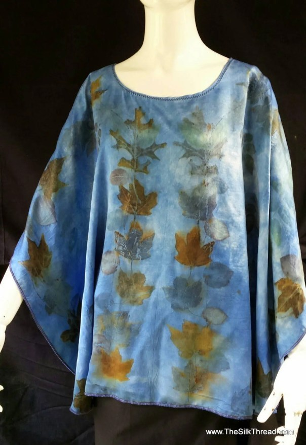 Satin Silk Blue Tunic, Poncho,Eco-Printed Organic Leaf Designs, Luxury Silk,Nature's Colors, Handcrafted,Sustainable Eco Fashions, Plus size