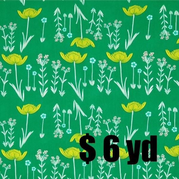 Art Fabric - Leah Duncan Meadow Savanna Glow Mint Green Spring Floral