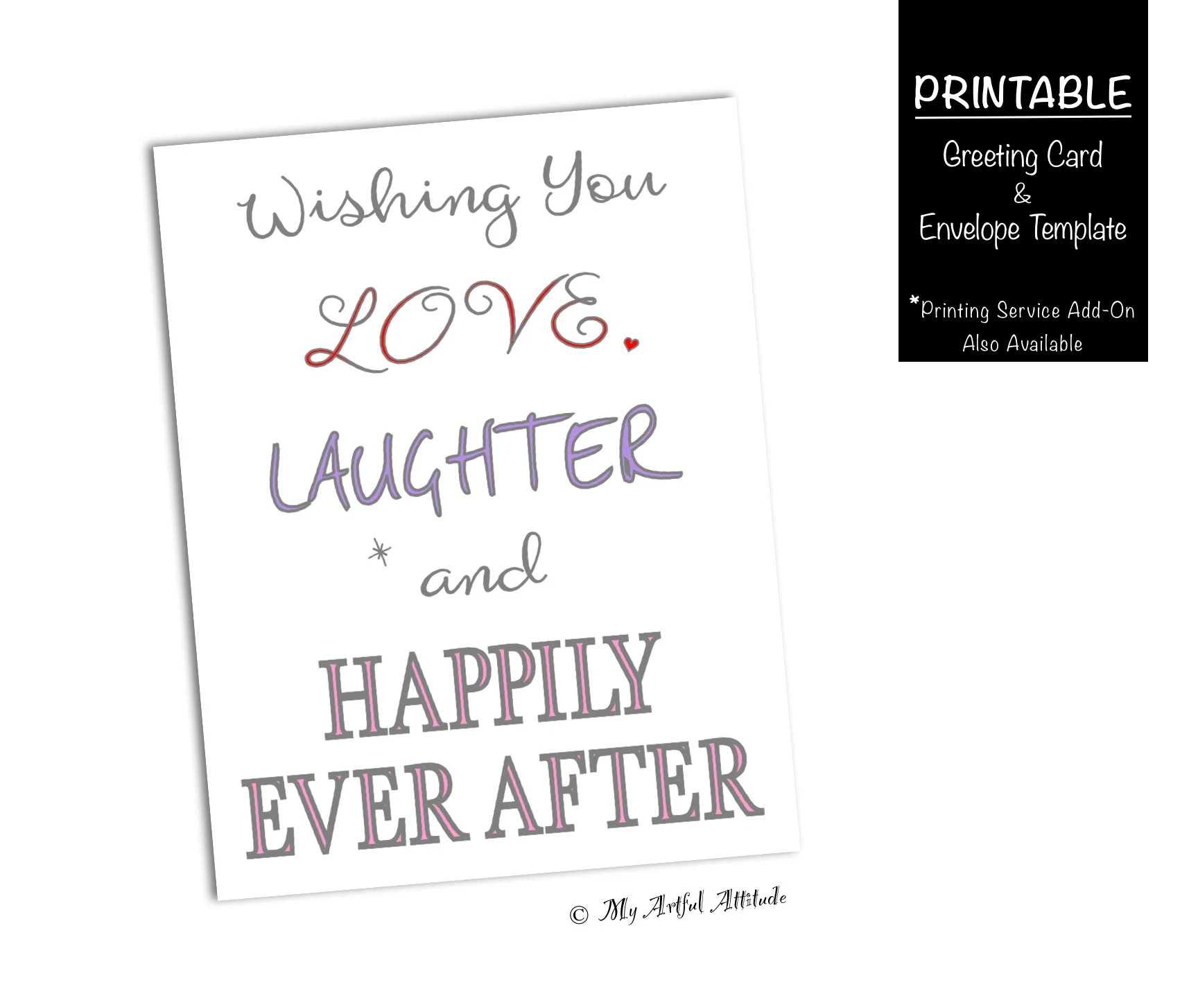 Wedding PRINTABLE Card, Love, Laughter, Happily Ever After