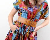 Vintage 80s ETHNIC Print Cotton Boho Gauze Playsuit 1pc Jumper Culotte Dress S M