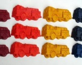 Recycled Crayon Firetrucks  - Party Favor  Set of  12