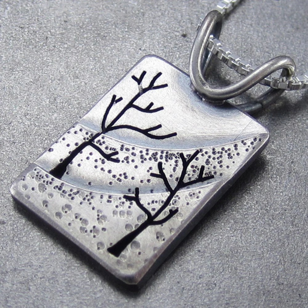 Small Northern Slope Silver Tree Pendant