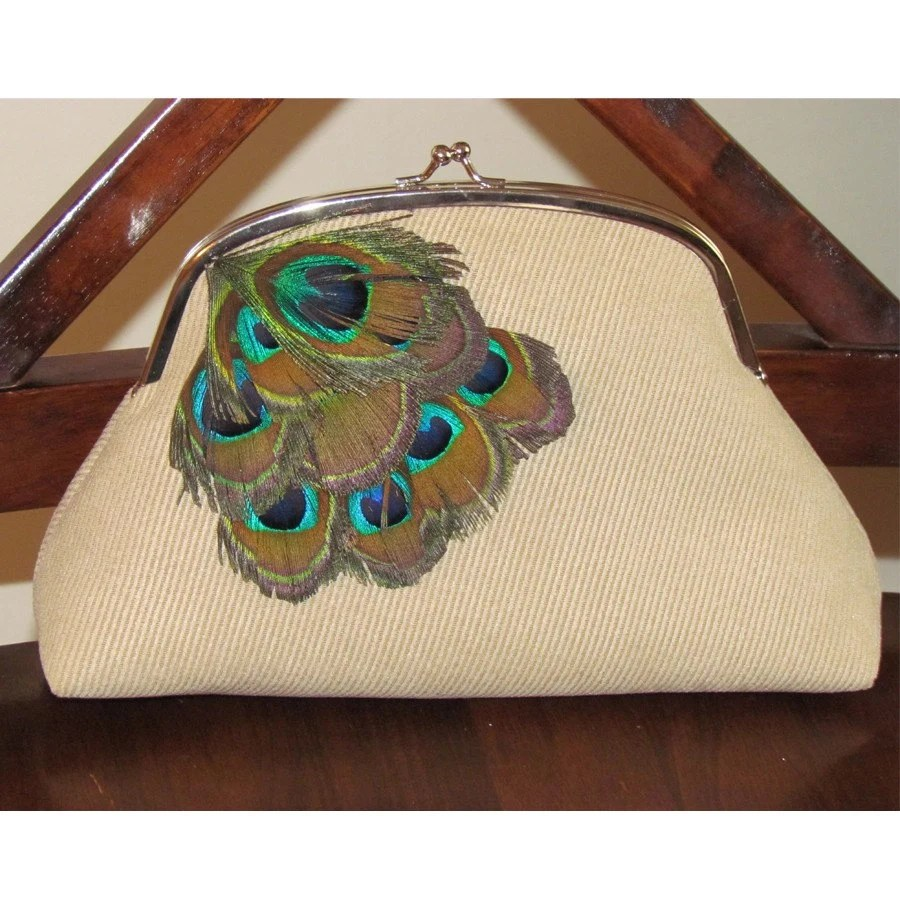 Snap Clutch in Khaki Courdoroy with Peacock Feathers ON CLEARANCE